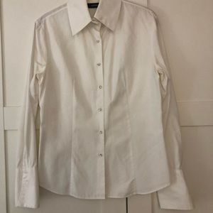 White shirt w/ rhinestone buttons and French cuffs